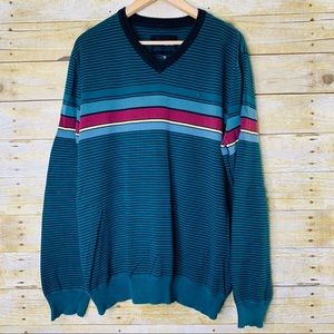 Hurley Sweater V Neck Striped Green Black Size XL